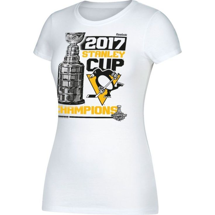 Reebok Women's 2017 NHL Stanley Cup Champions Pittsburgh Penguins Locker Room White T-Shirt, Size: Medium, Team
