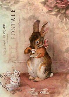 Reminds me of Beatrix Potter...vintage style rabbit art.