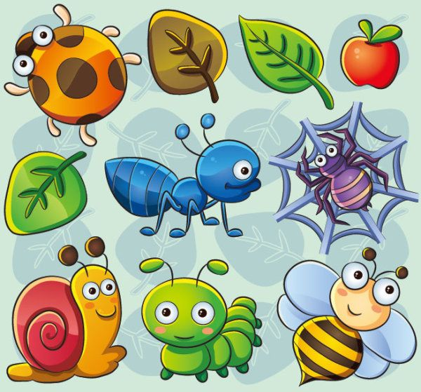 kids bathroom  cute cartoon Insects and plants vector 02