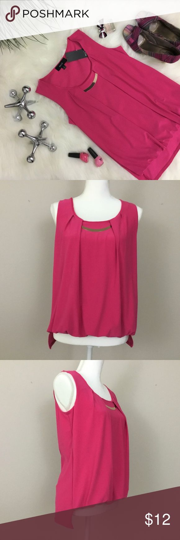 Naif magenta sleeveless top Naif sleeveless pullover top. It's a very pretty shade of magenta and has a gold metal detail near the neckline which …