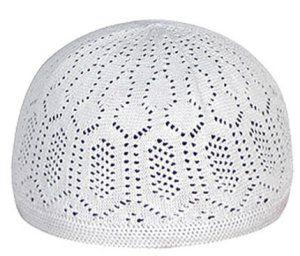 White Cotton Knit Turkish kufi Muslim Taqiyah Hat Moslem Kofiyah Takke Topi
