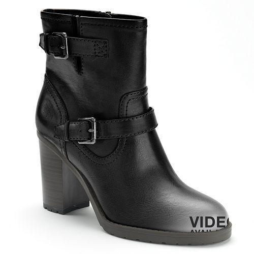 http://bit.ly/Z6gCEt - Chaps ankle boots. Double buckle accents complement the smooth nature of these women's ankle booties. Coordinate with a pair of skinny jeans.