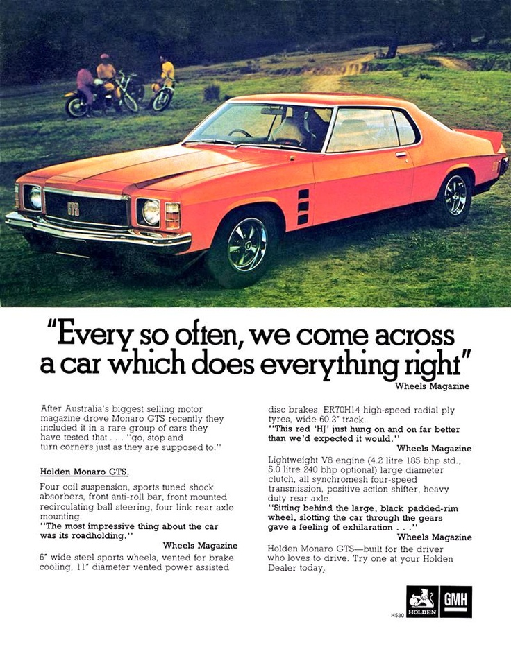 Holden HJ Monaro GTS.  Advert dates to circa 1970.