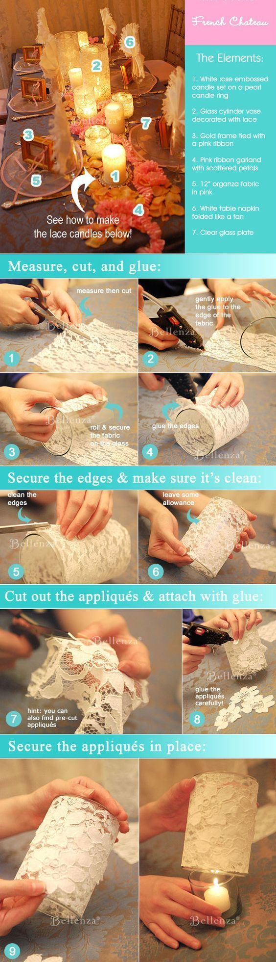 DIY lace-covered candle holders (tutorial) / http://www.himisspuff.com/diy-wedding-centerpieces-on-a-budget/16/