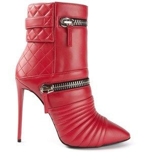 Giuseppe Zanotti Design Red Pointed Toe Biker Ankle Boots Fall 2014 #Shoes #Zanottis #Booties
