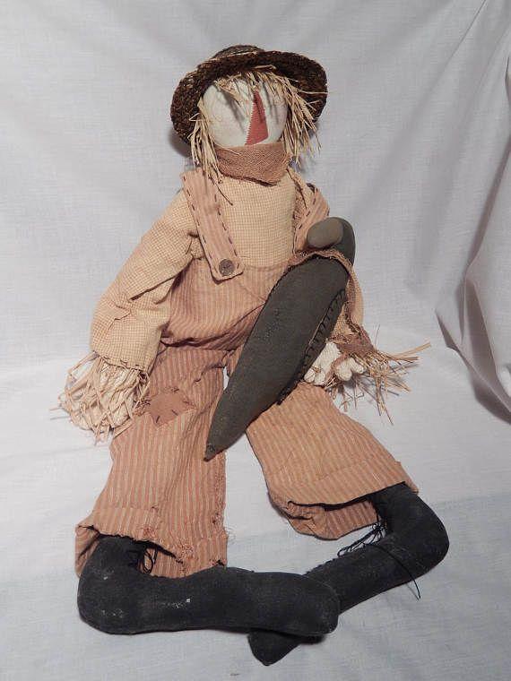 Primitive Country Scarecrow Doll Black Crow Bird Folk Art