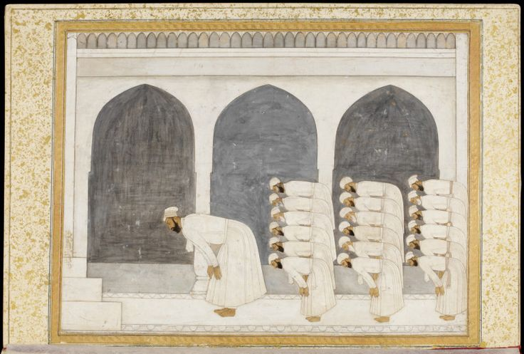 Prince Muhammad Azim ush-shan, son of Bahadur Shah I, leading a prayer assembly in a marble mosque.