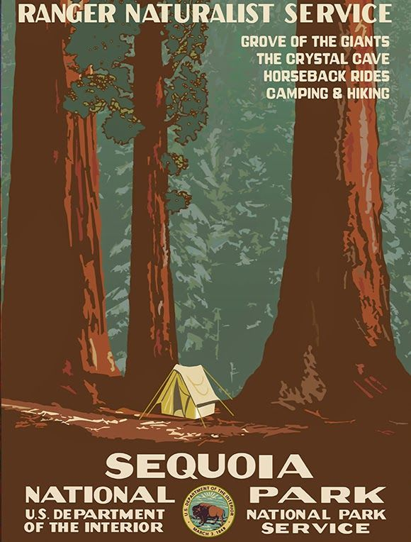animal poster, classic posters, federal art project, free download, free posters, free printable, graphic design, national park, nature, printables, retro prints, travel, travel posters, vintage, vintage posters, vintage printables, wildlife, wpa, Sequoia National Park - WPA Vintage Poster