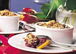 Tamarillo and Boysenberry Crumble recipe from Food in a Minute