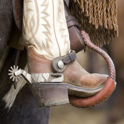 Close-Up of Cowboy Boot and Spurs at Sombrero Ranch, CO