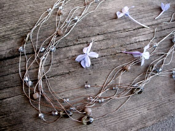 Foggy morning antique silver layered grey ice blue necklace by Planeteer