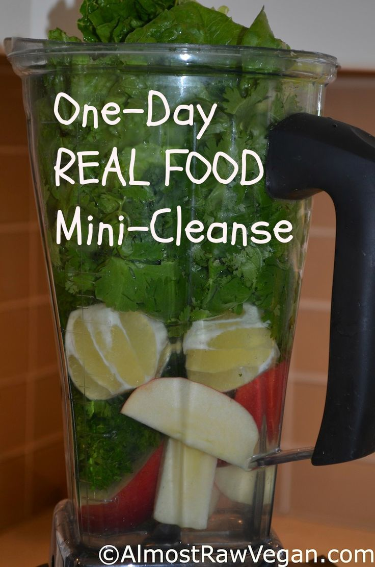 1 Day Mini Cleanse 4 cups coconut water (or filtered water if you have no coconut water) 1/2 bunch parsley 1 bunch cilantro 1 lemon, peel/rind removed 1 apple, cored and chopped 1/2 head romaine