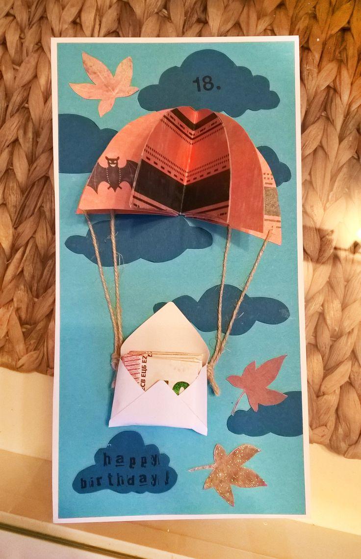 Geburtstagskarte, Geldgeschenk, Herbst, Fallschirm