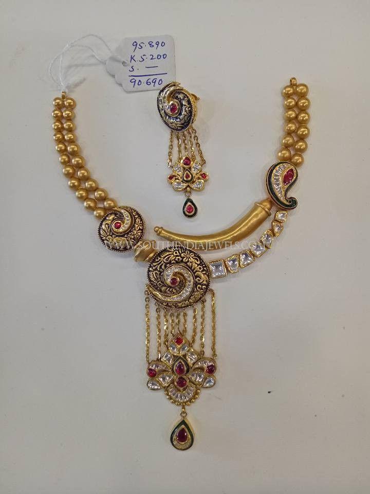90 Grams Gold Designer Necklace Set, Gold Designer Necklace With Weight Details.