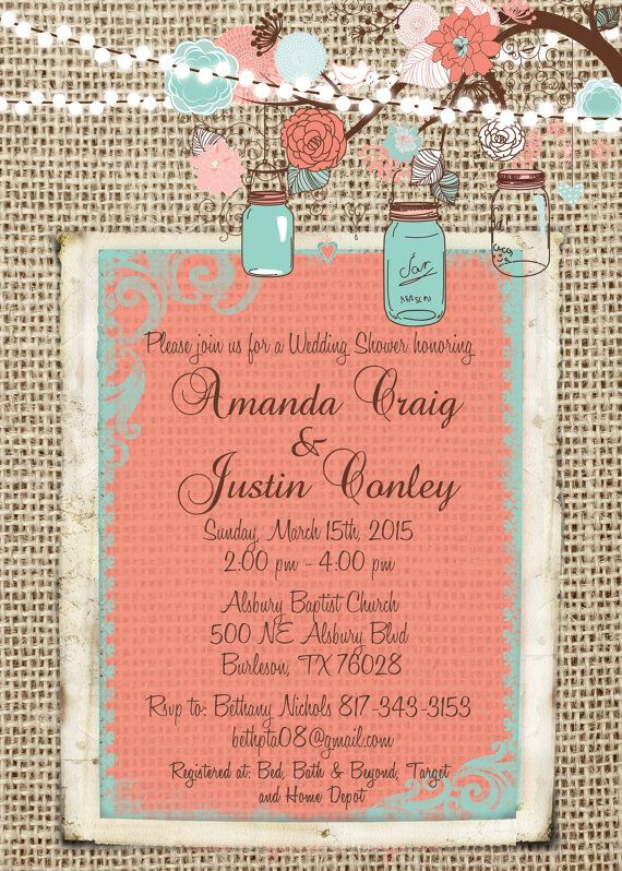 Coral and Turquoise Burlap Wedding by MissBlissInvitations on Etsy