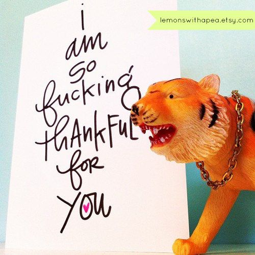 I'm so f*cking thankful for you. Quite possibly the best thank you card on etsy, ever?