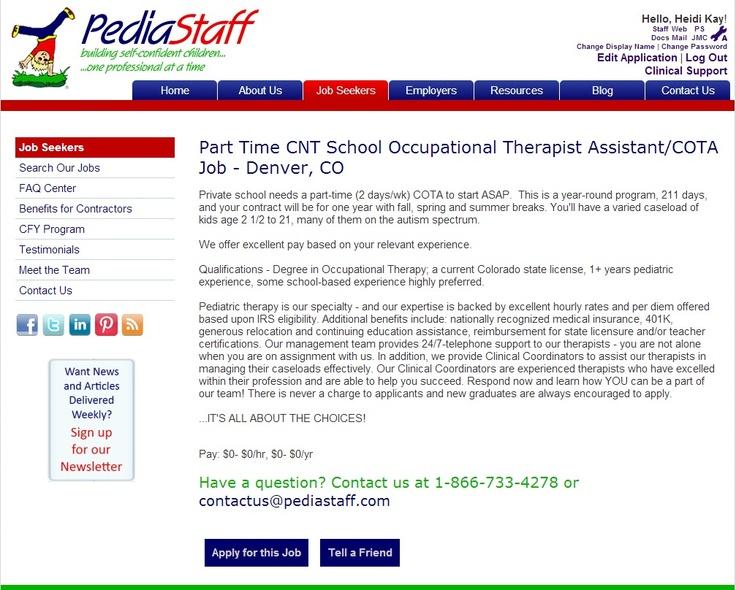 Part Time CNT School Occupational Therapist Assistant/COTA
