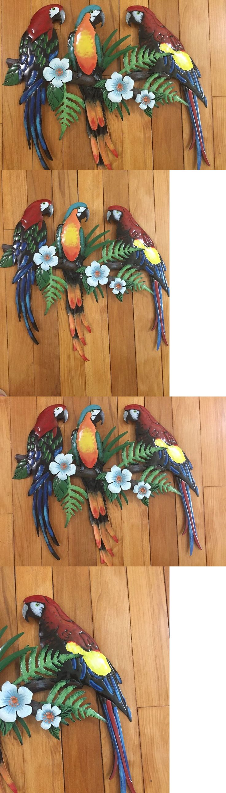 Wall Sculptures 166729: Tropical Parrot Wall Art Botanical Spring Birds Hawaiian Hibiscus Floral Decor -> BUY IT NOW ONLY: $44.99 on eBay!