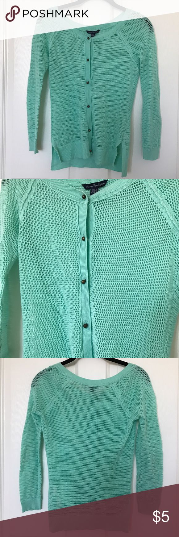 American Eagle Teal Cardigan Used. Has stain on back of left sleeve and small stain on front near the top (see last photo). American Eagle Outfitters Sweaters Cardigans