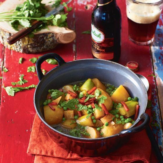 Ierse aardappelstoof met prei, knolselderij, ertwjes en (vegetarische) spekjes