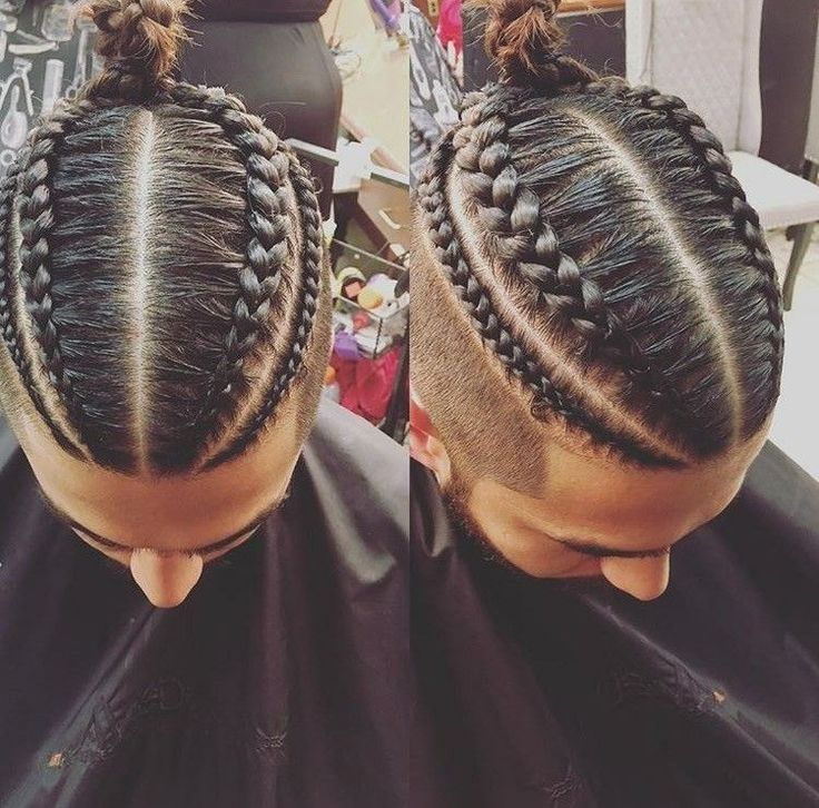 Men braids with a bun new style