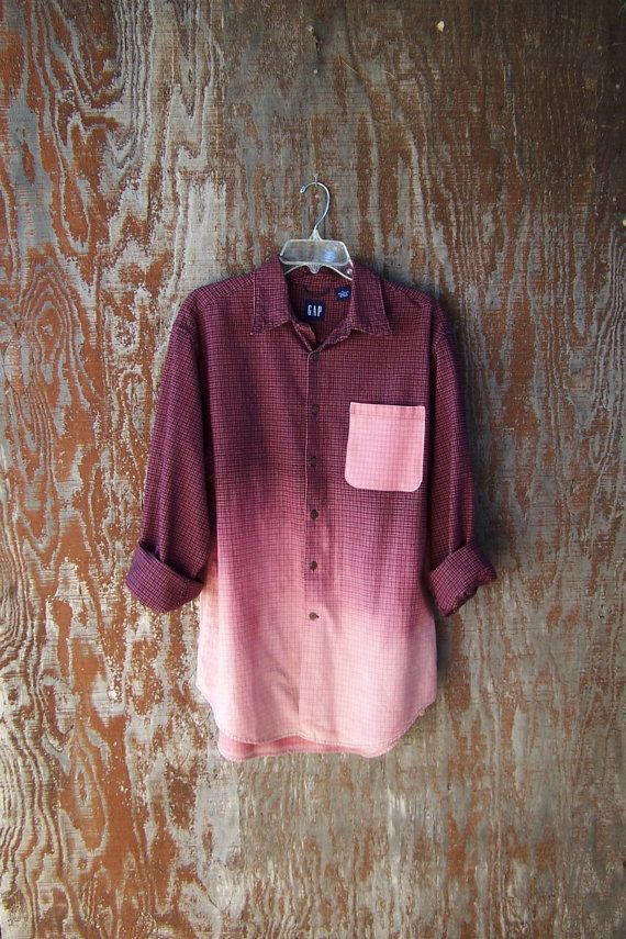 UPCYCLED GAP FLANNEL shirt plaid half bleached dip dye ombre contrast pocket long sleeve maroon red plaid shirt grunge flannel mens large. DIY