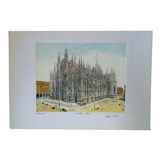 Bela Sziklay Hand Colored Etching of Il Duomo