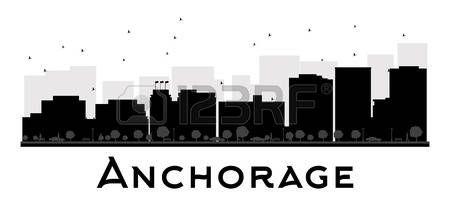 Horizonte de la ciudad de Anchorage negro y blanco de la silueta. Ilustración del vector. concepto de plano simple para la presentación turismo, bandera, cartel o página web. el concepto de viaje de negocios. Paisaje urbano con famosos