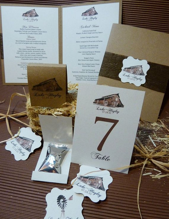 Barn Wedding Rustic Wedding Stationery by designunfurls on Etsy, $2.50