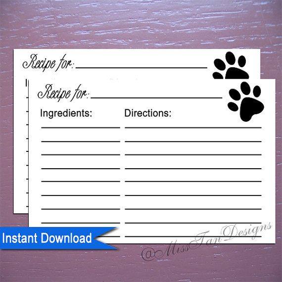 Printable Recipe Card Paw Print For The Dogs by MissTanDesigns - recipe card