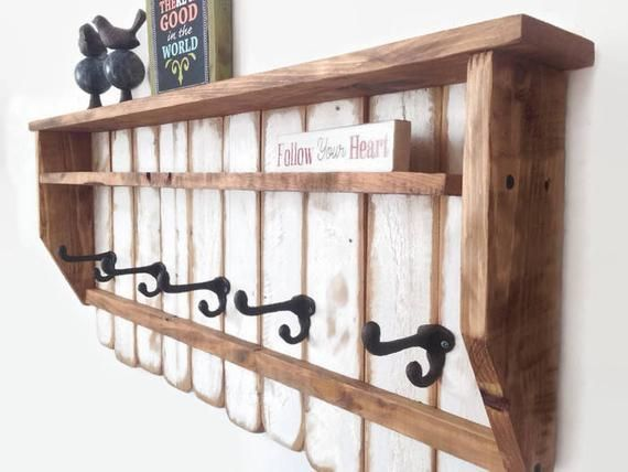 Rustic Wood Coat Rack Entryway Organizer Coat Rack Wall Mounted
