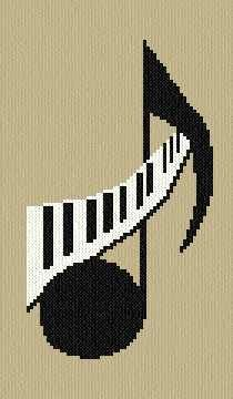 Cross Stitch/Perler Bead Music Note Pattern.