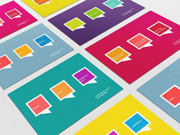 Celebrating Color with Pantone, student brief by Lua Cortes, via Behance - Pantone, promotion, postcard, postcards, flyer
