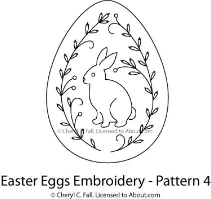 Easter Egg 4-Piece Embroidery Pattern Set: Egg Pattern 4