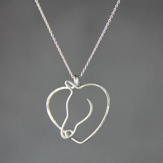 Sterling zilveren hart paard hanger Kentucky door AnniDesignsllc