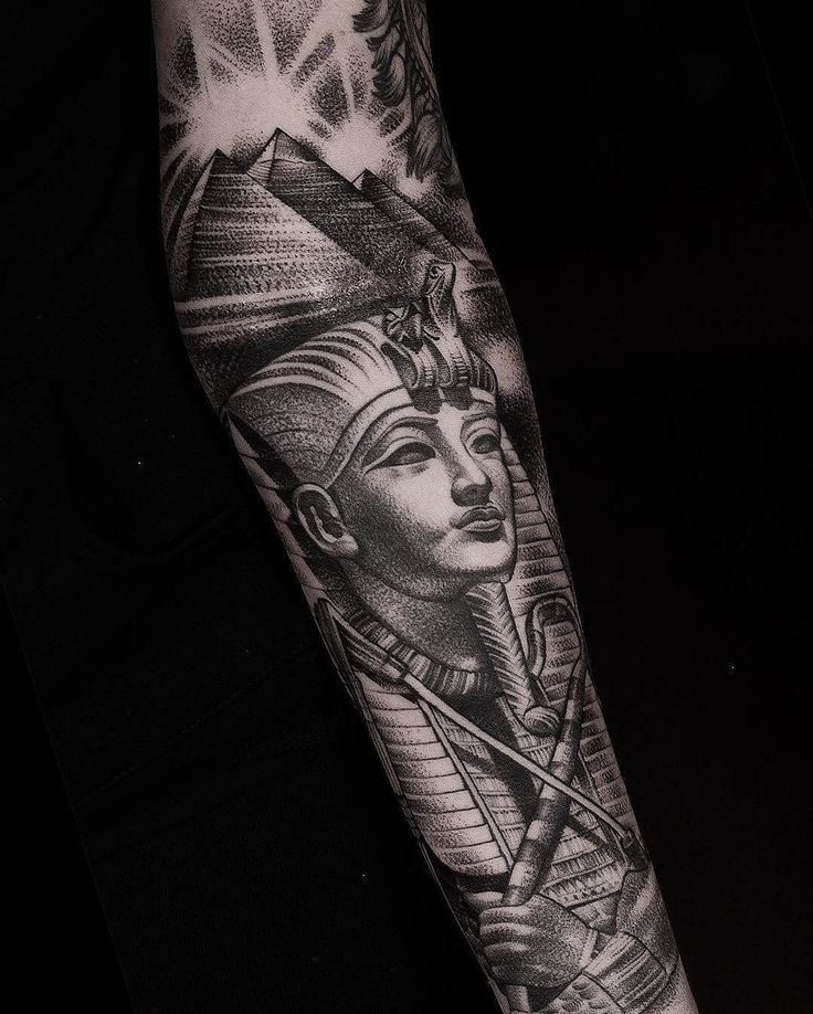 Egyptian half sleeve by @danielbacz at @inkdependenttattoos in Edinburgh Scotland . #edinburghtattoo #edinburgh #tattoosnob #egyptiantattoo #egypt #egyptian #pyramid #pharoh #blackandgreytattoo #halfsleeve #inkdependenttattoo