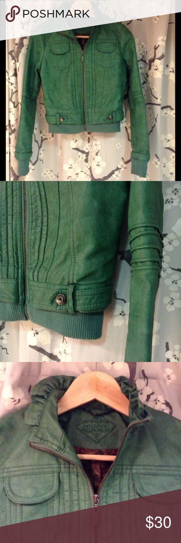 JouJou Green Faux Leather Jacket w/ Ruffle Collar Green