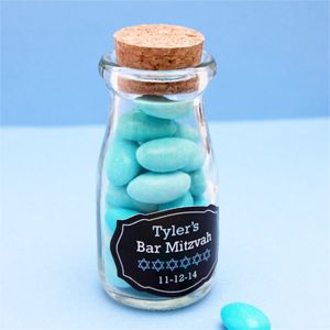 Personalized Bar Mitzvah Vintage Milk Favor Jars - Bar Mitzvah & Bat Mitzvah Party Favors - Other Occasions - Wedding Favors & Party Supplies - Favors and Flowers