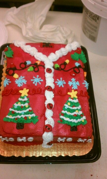Ugly Christmas sweater cake! Looks so cute in a shirt box ...
