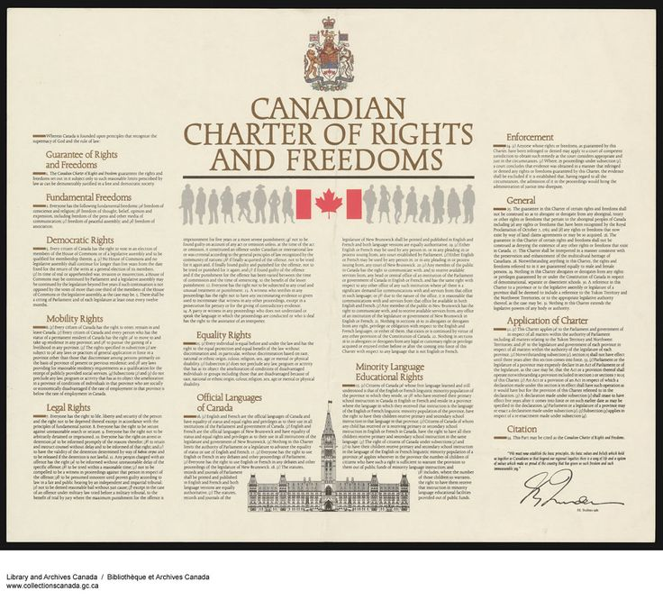 The Canadian Charter of Rights and Freedoms enshrines our individual and collective rights in a legally binding manner.