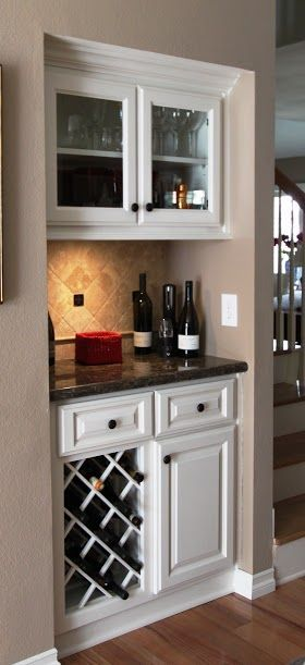 Mini bar and built in wine rack pinteres for Wine rack built in