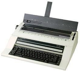 "Nakajima AE-710 Electronic Office Typewriter. Printing Method: 100 character drop-in printwheel. Function Keys: 21. Print Speed: 20 CPS. Key Stroke Buffer: 30 Strokes. Printing Width: 11.5""."