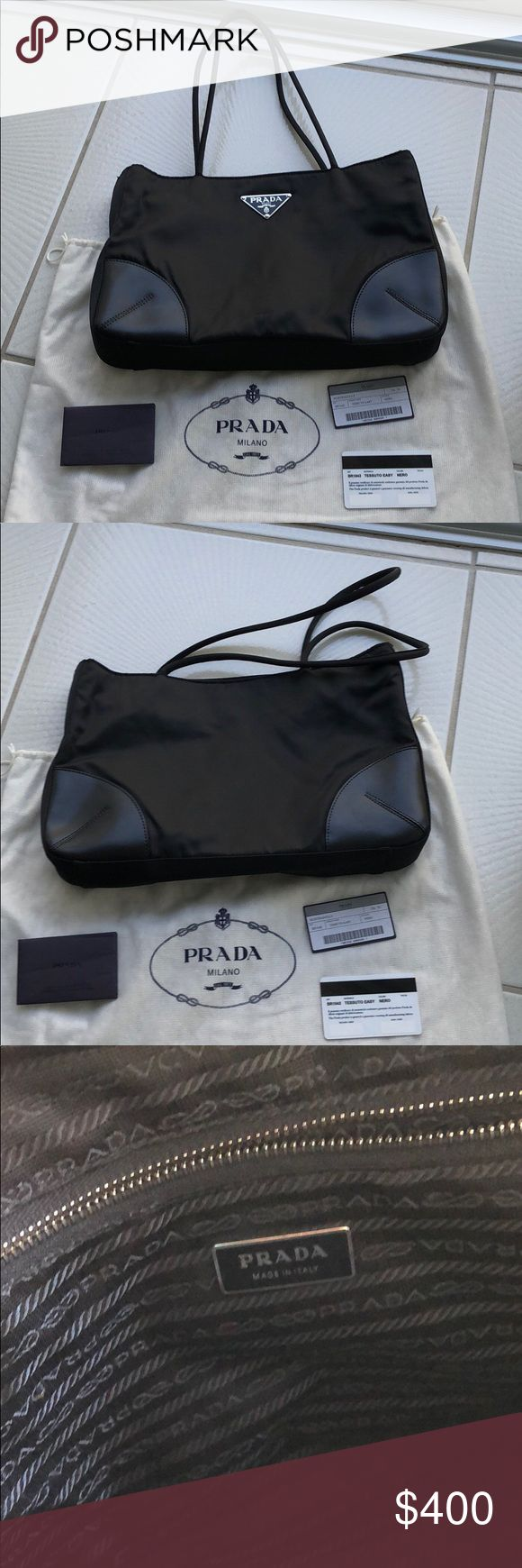 """Authentic Vintage Prada TESSUTO Tote Bag Excellent condition on this handbag. Original owner of the purse. don't believe I ever used it. Inside zipper. Nylon bag with leather corners. No marks or stains. Hardware is perfect. Pet free smoke free home. Comes with Prada dust bag, authenticity cards and all paperwork. Measurements are approx 14"""" wide, 9"""" height, depth is 2.5"""" Prada Bags Totes"""