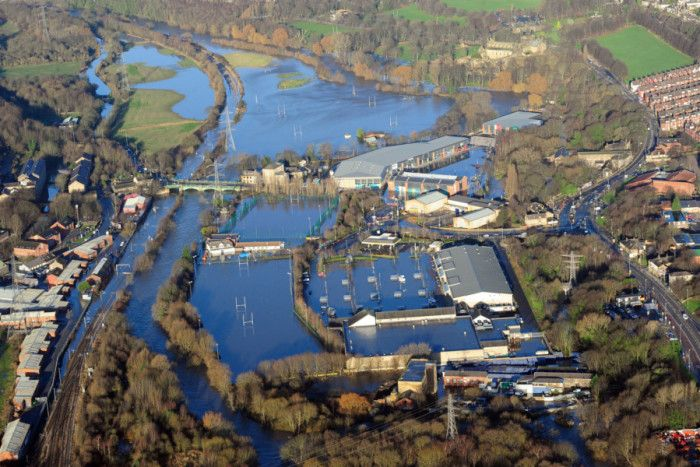 Aerial pictures over the Kirkstall Road area of Leeds, show where the River Aire has burst its banks. Picture: Ross Parry Agency