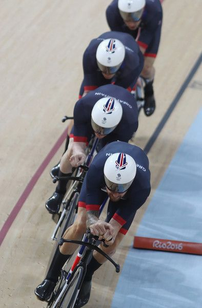 Edward Clancy, Steven Burke, Owain Doull and Bradley Wiggins Team GB Men's Team Pursuit Final for Gold Rio Olympic Games / Getty Images