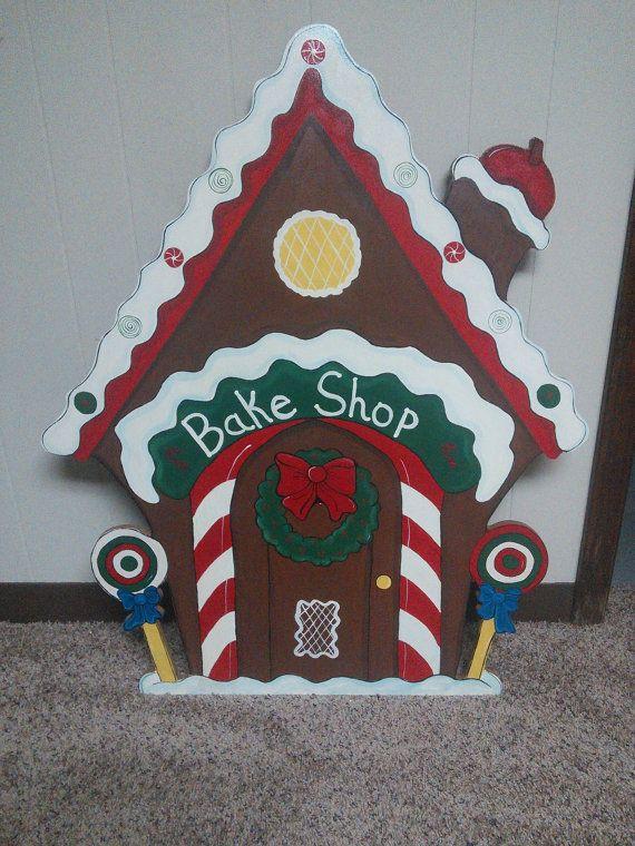 Christmas 3 Piece Gingerbread Bake Shop Wood Outdoor Yard Art, Lawn Decoration