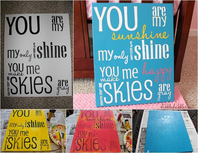 DIY Canvas Art by painting over vinyl letters