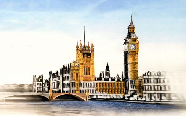 парламент, рисунок, лондон, часы, биг бен