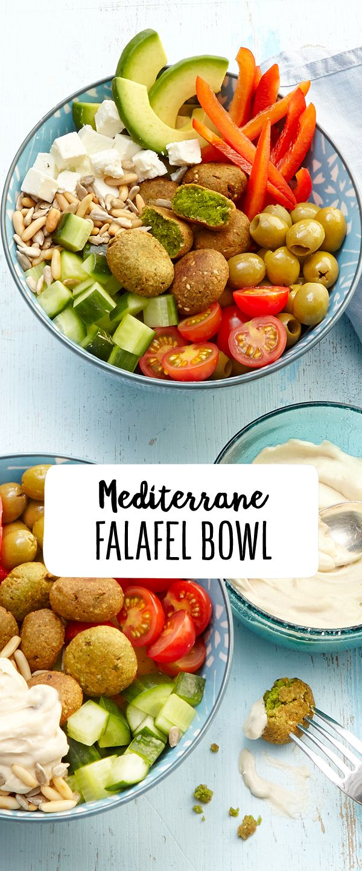 Mediterrane Falafel Bowl mit Zitronen-Tahini-Dip