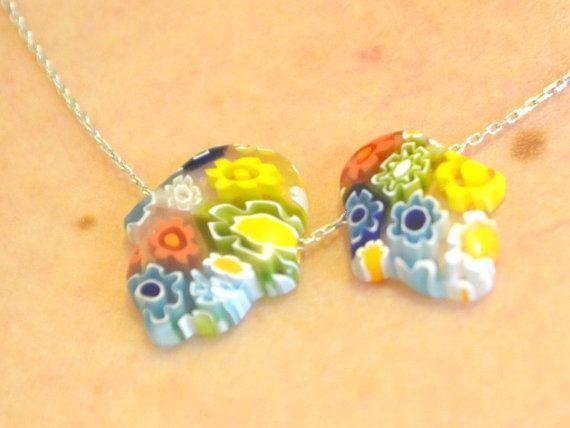 GLASS HAND NECKLACE murano hamsa necklace galss by TURKISHNAZAR